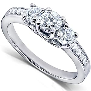 1/2ctw Three Stone Round Brilliant Diamond Engagement Ring in 14K White Gold - Size 6.5