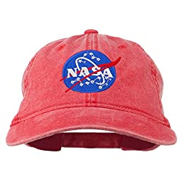 NASA Insignia Embroidered Pigment Dyed Cap - Red OSFM