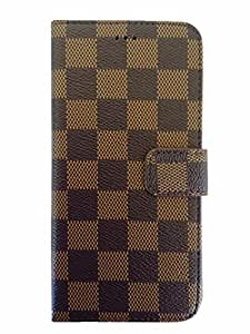 iPhone 6 4.7 Inch Wallet Cover Case , Luxury Leather Checkered Pattern Credit Card Slots and Magnet Clasp Flip Cover for Appple iPhone 6 (Brown)
