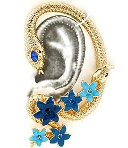 Gorgeous Goldtone Jeweled Flower Wrap Around Cleopatra Style Snake Ear Cuff