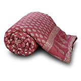 TRADITION INDIA Rajasthani Cute Gold Maroon Print Pure Cotton Maroon Single Bed Quilt