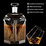 Diamond Whiskey Decanter 1000ml Glass Liquor Decanter - Scotch, Rum, Bourbon, Vodka, Tequila or Mouthwash (Fathers Day Gift)