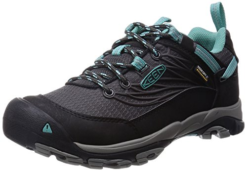 KEEN Women's Saltzman WP Outdoor Shoe, Raven/Lagoon, 8.5 M US