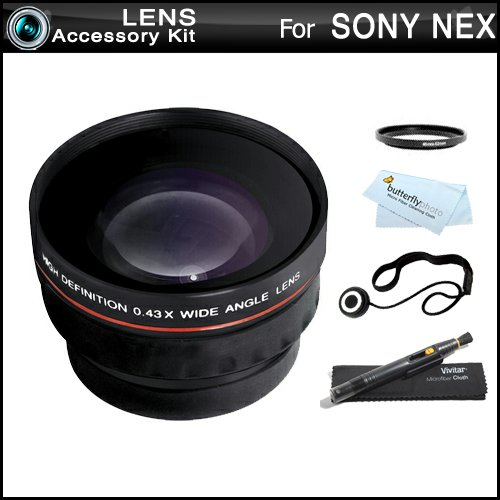 Wide Angle Lens Kit For Sony Nex-F3, Nex-7, Nex-5N, Nex-5, Nex-5R, Nex-3, Nex-C3 Interchangeable Lens Camera (That Use E-Mount 18-55Mm, 30Mm, 16Mm, 24Mm, 55-210Mm, 50Mm Lenses) Includes High Definition .43X Wide Angle Lens W/ Macro + Lenspen Cleaning Kit