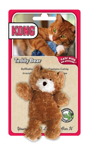 KONG Teddy Bear Catnip Toy, Cat Toy, Brown
