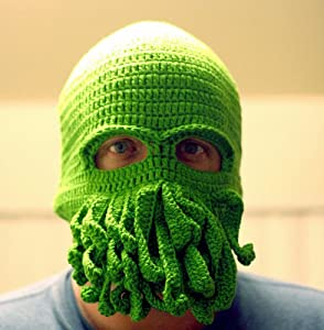 Handmade Cthulhu Ski Mask made with 20% egg protein yarn - fits adult male