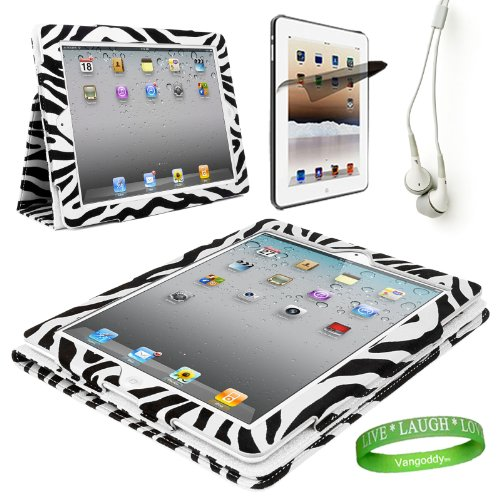 Zebra iPad Skin Cover Case Stand with Screen Flap and Sleep Function for all Models of The NEW Apple iPad (3rd Generation, wifi , + AT&T 3G , 16 GB , 32GB , MD328LL/A , MD329LL/A , MD330LL/A, ect..) + Compatible White iPad earbud Earphones with Noise reduction + Custom iPad Anti Glare Screen Protector + Live * Laugh * Love Vangoddy Trademarked Wrist Band!!!