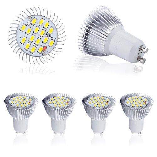 4 Pcs High Power 8W Gu10 Led Light 5630 Smd Ultra Bright Lamp Bulb Warm White 230V