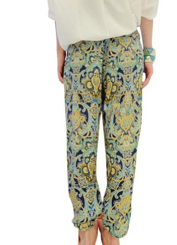 Keral Women's Floral Prints Pattern Casual Wide Palazzo Loose Trousers_Blue Picture