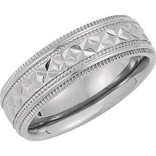 Titanium, Diamond Cut Milgrain Wedding Band (sz 7)