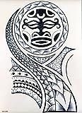 MÄNNER TRIBAL TATTOO SCHWARZ wx099 Oberarm Tattoo Aufkleber Maori und