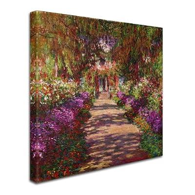 Trademark Fine Art A Pathway in Monet's Garden by Claude Monet Canvas Wall Artwork