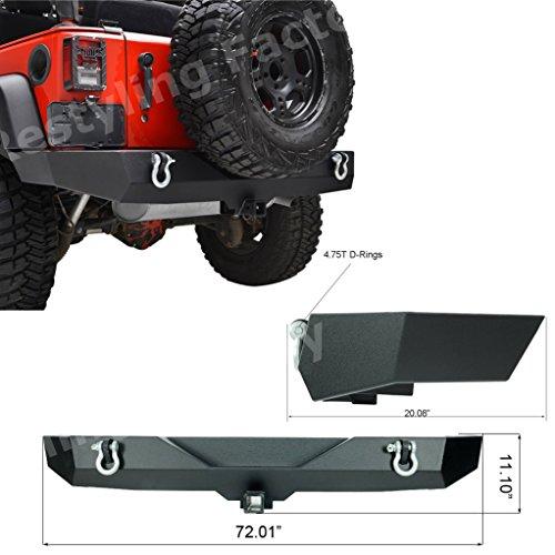 Restyling-Factory-07-16-Jeep-Wrangler-JK-Rock-Crawler-Full-Width-Rear-Bumper-w-2-Hitch-Receiver-Textured-Black