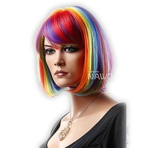 Cool Short Bob Rainbow Colorful Natural Straight Full