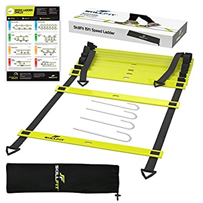 SkillFit 15-Foot Footwork Agility Ladder and A3 Laminated Drill Chart for Speed Training Fitness Workouts and HIIT Cardio with 11 Adjustable Rungs