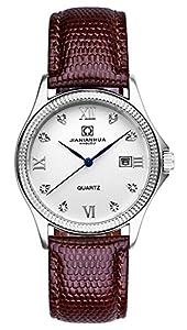 MASTOP Watch Men's Watch The Master Series Diamond Inlaid Leather Band Calendar Quartz Watch Brown