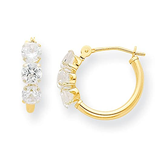 14ct Gold CZ Hoop Earrings