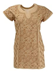 Imperial Chikan Women's Cotton Straight Kurta (6487, Brown, 38)