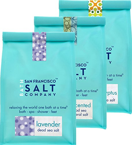 Dead Sea Mineral Bath Salt Variety 3 Pack: Pure Dead Sea Salt, Lavender Dead Sea Salt and Eucalyptus Dead Sea Salt (1.75lb bag of each)