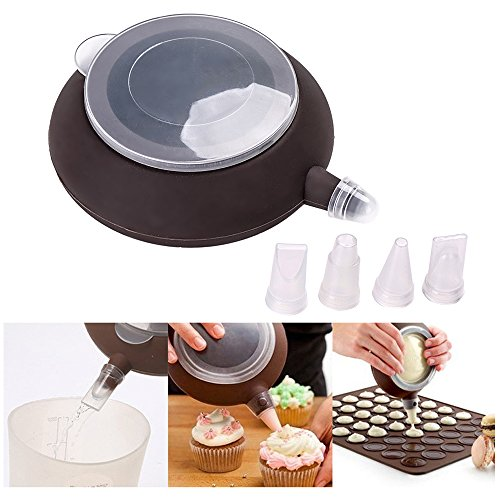 Ogori French Macaroon Baking Set - Baking Decorating Homegarden Cake Cookie Non-Stick Kit - 4 Nozzles - Cup Cake Muffin Pastry Cream Icing - Food grade Silicone(FDA) | BPA Free