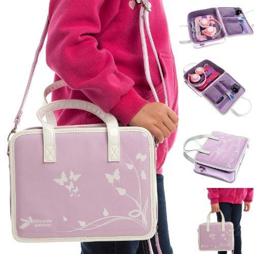 Ultimate Addons Girls Travel Storage Case Handbag + Headphone Bundle For Vtech Innotab 3S (Violet Bag - Pink Headphones)