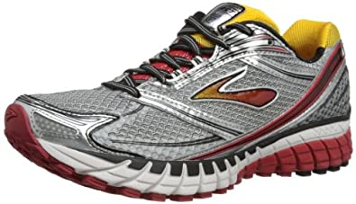 Brooks Men's Ghost 6 Running Shoes, Color: Blck/Wht/Lava/Slvr/Citrus, Size: 10.5