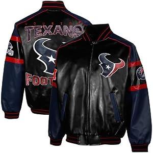 NFL Houston Texans Men's Post Game Pleather Jacket, Navy, XX-Large