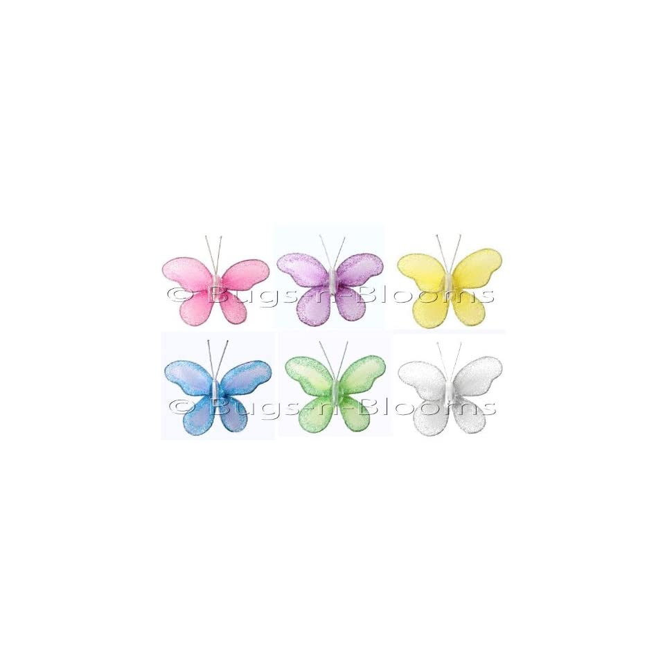 "Butterfly Decor 2"" Assorted Mini (X Small) Glitter Butterflies 6pc set (Purple, Dark Pink, Yellow, Blue, Green, White)   Decorate Baby Nursery Bedroom Girls Room Ceiling Wall Decor Wedding Birthday Party Bridal Baby Shower. Decoration Crafts Parties"