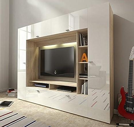 Letti e Mobili - Mobile TV modello Bermet in colore sonoma/bianco con led