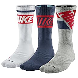 Nike Dri Fit Men\'s Cushioned Crew Socks (Large, Navy/White/Gray)