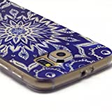Samsung Galaxy S6 Case, Hongqing Shop Samsung Galaxy SVI TPU Rubber Soft Back Cover Case, Ultra Slim Thin Silicon Gel Soft Cover Case, Scratchproof Dustproof Anti-slip [Animal Style] [Tribal Pattern] [Flower Pattern] [Fashion Pattern] [Text Pattern] [Totem Pattern] [Funny Style] [Smile Face] [Painted Drawing] Protective Skin Case for Samsung Galaxy S VI (2015 Release) Carrier Compatibility Verizon, AT&T, T-Mobile, Sprint, International Carriers. (Not Compatible with Galaxy S6 Edge.) (Blue and White Flower)