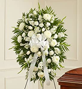 1800Flowers - Deepest Sympathies White Standing Spray - Medium