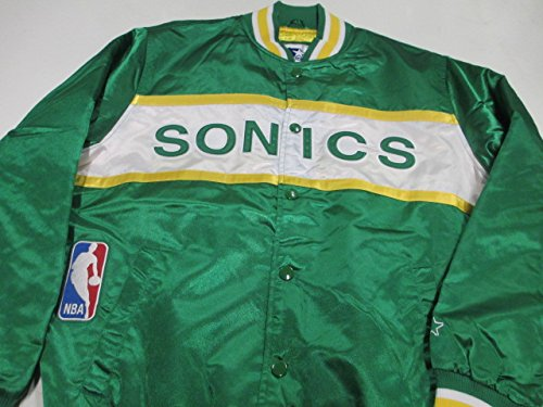 Seattle SuperSonics Mens X-Large Embroidered Snap Front Satin Starter Jacket ASSP 2 XL (Satin Starter Jacket compare prices)