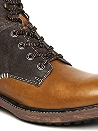 Lee Cooper Men Brown Solid Leather High Top Flat Boots B01N3B5XTN