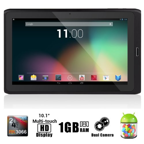 "Dragon Touch R10 10.1"" Google Android 4.1 Dual Core Tablet MID PC, Rockchip RK3066 Dual Core Cortex A9 CPU up to 1.6GHz, 1Gb RAM, 8Gb HDD, Multi-Touch Screen, Front Camera + Rear Camera, Google Play Pre-Installed, HDMI 1080P Output, Skype Video Calling, Netflix, Flash Supported [By TabletExpress]"