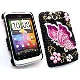 FLASH SUPERSTORE HTC WILDFIRE S ( NOT WILDFIRE ) DIAMANTE HARD BACK COVER BUTTERFLY BLACK PINKby FLASH SUPERSTORE
