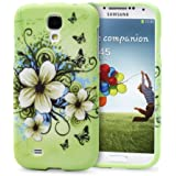 Fosmon MATT Series (Unique Painting Design) Rubberized Hard Case Cover for Samsung Galaxy S4 / S IV / GT-I9500 (Green Flower)