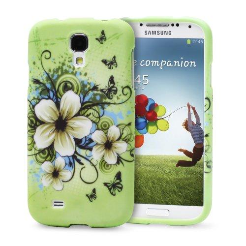 #!  Fosmon MATT Series Rubberized Case for Samsung Galaxy S4 IV - i9500 (Green Flower)