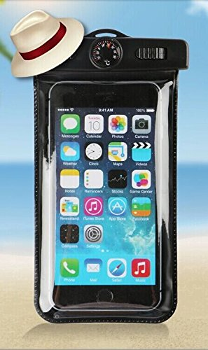 Waterproof Case, Allmet [Black] Universal Dry Waterproof Pouch Bag Case Comes With [Water Thermometer] for Apple iPhone 6, 5S 5C 5 4S, iPod Touch 5 4 3 Samsung Galaxy S5, S4, S3, Samsung Galaxy Note 4, 3, 2, 1, HTC One M8,M7,M4, LG Optimus G2, G3,G4, Nexus 5, 4, Sony Xperia Z1, Z2,Z3 Nokia Lumia 520, 635, 930, BlackBerry Z10, Z3, Motorola Droid DNA - Also Fits Any Smartphones Up To 6.0 (Waterproof Cas For Ipod 5 compare prices)