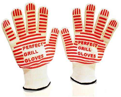 65% Sale! #1 BBQ Gloves - Oven Gloves - Perfect Grill Gloves - Extreme Heat Resistant EN407 Certified - 1 Pair flexible Gloves - Versatile than Mitt