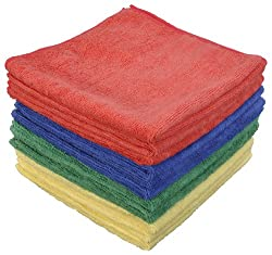 Eurow Microfiber Commercial Towels 16 x 16 in. 300 GSM 12-pack 4 colors