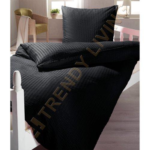 Schwarze Seersucker Mikrofaser Bettwäsche mit Reißverschluss   135x200   Bettgarnitur schwarz
