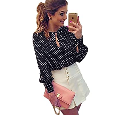 Landfox Women Casual Long Sleeve Blouses Summer Chiffon Polka Dots Shirt Tops