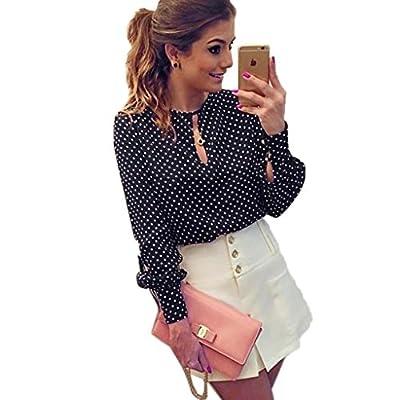 Landfox Women Casual Long Sleeve Blouses Summer Chiffon Polka Dots Shirt Tops