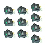 10PC New 16A 12V Round Rocker Toggle Switch Green LED SPST For All