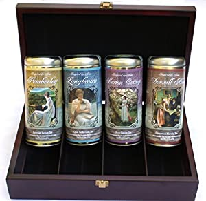 Jane Austen Inspired Tea Collection Boxed Gift Set with Wooden Tea Box (Elegant Boxed Gift Set)
