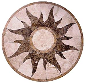 Marble Mosaic Floor Tile Medallion Sun Design 30