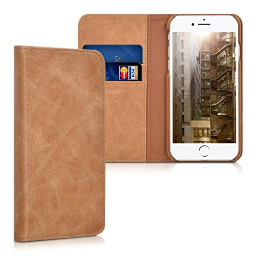 kalibri-Leder-Hlle-James-fr-Apple-iPhone-7-Echtleder-Schutzhlle-Wallet-Case-Style-mit-Karten-Fchern-in-Cognac