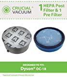 1 Dyson DC18 Pre & 1 HEPA Post Motor Filter; Fits Dyson DC18 Vacuums; Compare to Part # 911685-01 & 911677-02; Designed & Engineered by Crucial Vacuum