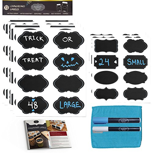 Chalkboard Labels Bundle- 72 Reusable Premium Stickers With 2 Erasable Chalk Markers, Fiber Cloth and Digital Guide | Small and Large Labels For Jars, Pantry Storage, Office and More By NameIT